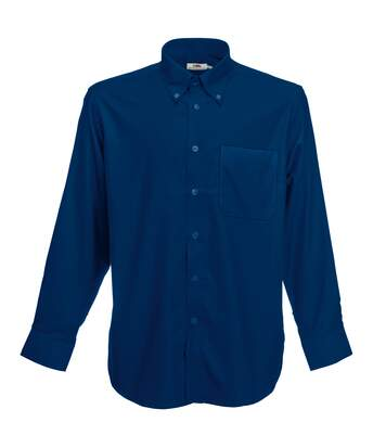 Fruit Of The Loom Mens Long Sleeve Oxford Shirt (Navy) - UTBC403