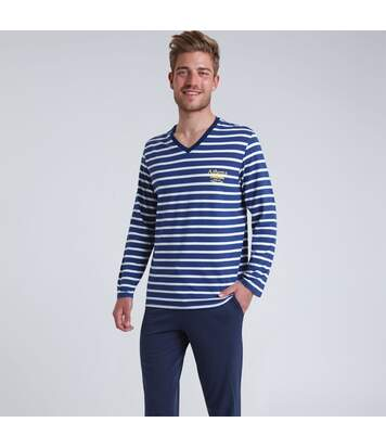 Pyjama long col V homme Rayures