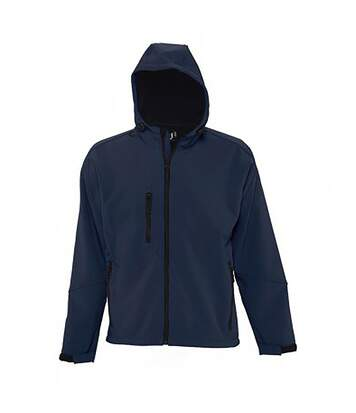 SOLS Mens Replay Hooded Soft Shell Jacket (Breathable, Windproof And Water Resistant) (French Navy) - UTPC410