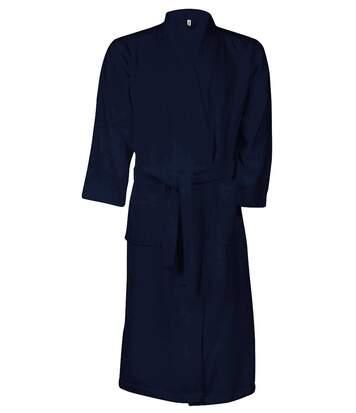 Peignoir de bain - coton - col kimono - K115 - bleu marine