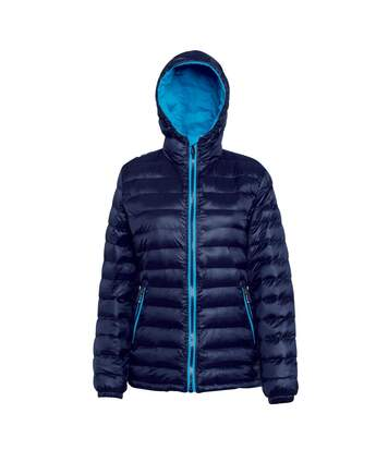 2786 Womens/Ladies Hooded Water & Wind Resistant Padded Jacket (Navy/Sapphire) - UTRW3425