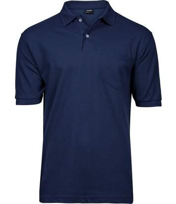 Polo homme poche poitrine - 2400 - bleu marine - manches courtes