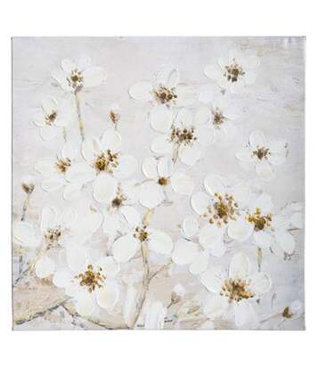 Toile Peinte Fleurs 58x58cm Blanc