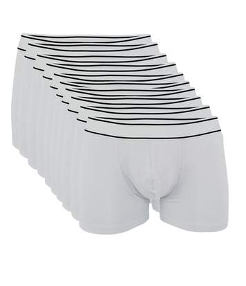 Lot 10 Boxers shorty Homme K800 - coton - blanc