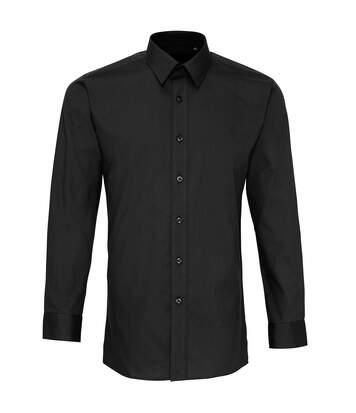 Premier Mens Long Sleeve Fitted Poplin Work Shirt (Black) - UTPC2522