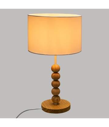 Atmosphera - Lampe à poser Pied Perle en Bois et Abat jour Blanc H 48 cm