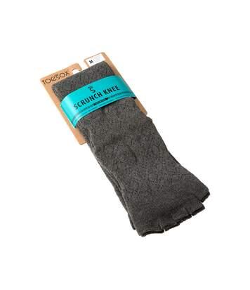 Chaussette Montantes - 1 paire - A doigts - Anti dérapante - Sans bouclette - Jacquard - Pilate - Chaude - Coton bio - Gris foncé
