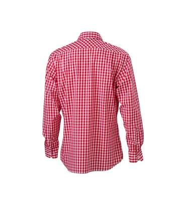 chemise manches longues carreaux vichy HOMME JN617 - rouge