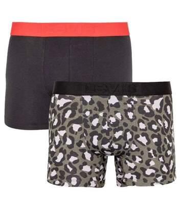 LEVI'S Lot de 2 Boxers Homme Coton CHEETAH Kaki Noir