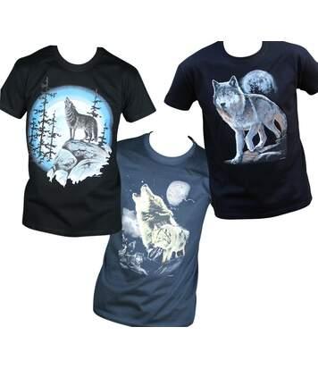 Lot 3 T-shirts homme manches courtes - Loups - noir et bleu marine