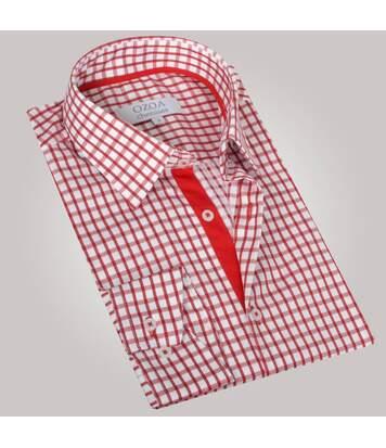 Chemise homme à carreaux rouges duo rouge - Chemise NON CINTRÉE
