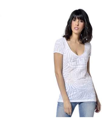 T-shirt Col V Femme Tigresse Imprimé Blanc