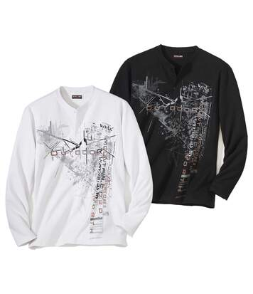Pack of 2 Men's Graphic Tops - Black White