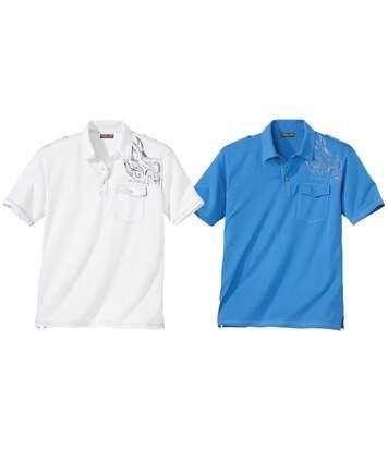 Pack of 2 Men's Ocean Team Polo Shirts - Blue White