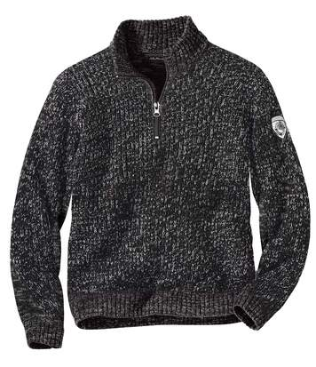 Men's Rocky Mountains Knitted Jumper - Mottled Anthracite