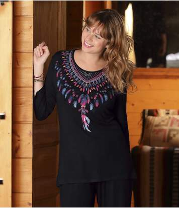 Women's Feather-Collar Tunic with Three-Quarter Sleeves