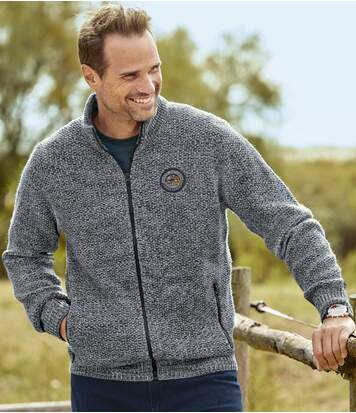 Men's Grey Knitted Jacket - Full Zip