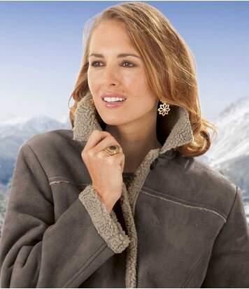 Semišový kabát zateplený umělým beránkem