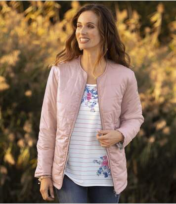 Women's Reversible 2-in-1 Padded Jacket - Pink Floral