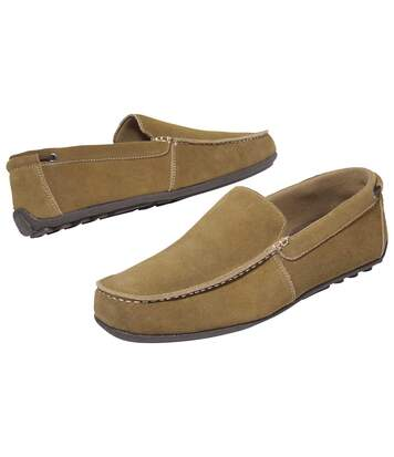 Men's Camel Suede-Look Leather Moccasins