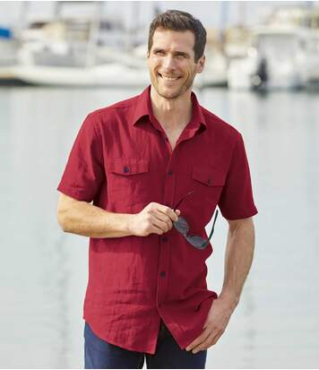 Men's Red Linen/Cotton Shirt
