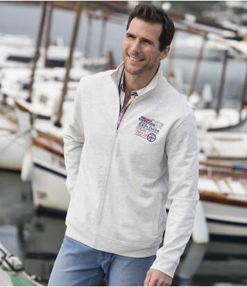Men's Cream Brushed Fleece Zip-Up Jacket