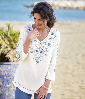 Women's Crepe Top - White Blue