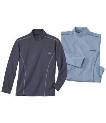 Pack of 2 Men's Blue & Grey Turtle Neck Tops
