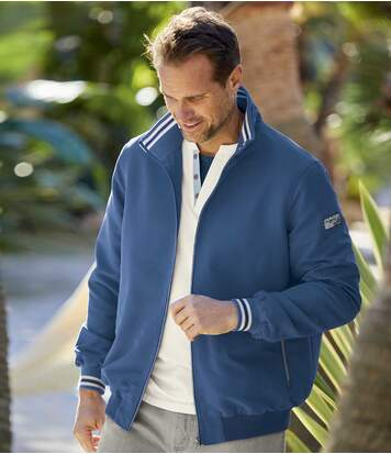 Men's Water-Repellent Microfibre Jacket - Full Zip - Blue