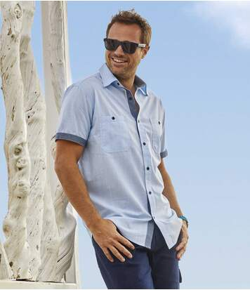Men's Blue Short-Sleeved Summer Shirt