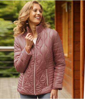 Women's Uniquely Quilted Pink Padded Jacket - Full Zip
