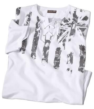 T-Shirt mit Schnürung und Streifenmotiv
