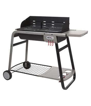 Barbecue à charbon avec tablette et roulettes Azur - 12 Personnes - Noir