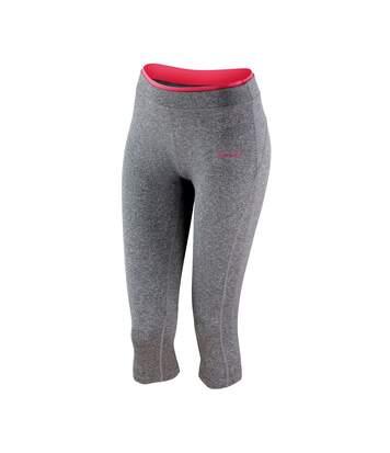 Spiro - Leggings pantacourt de fitness - Femme (Gris/Corail) - UTRW4775