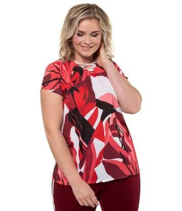 ULLA POPKEN T-Shirt Graphic Print Oversized Ribbon red NEW