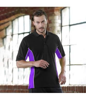 Gamegear® Mens Track Pique Short Sleeve Polo Shirt Top (Black/Sun Yellow/White) - UTBC412