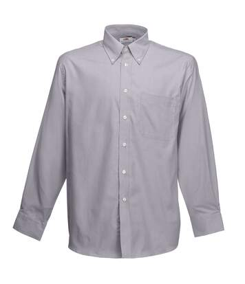 Fruit Of The Loom Mens Long Sleeve Oxford Shirt (Oxford Grey) - UTBC403