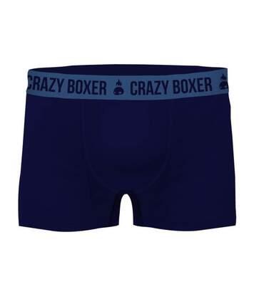 CRAZYBOXER Boxer Homme Coton Bio BCBASS1 Marine Bleu