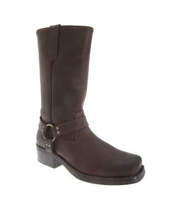 Woodland Mens High Harley Western Harness Leather Boots (Black) - UTDF578