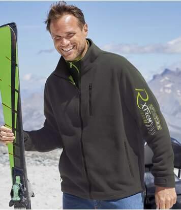 Men's Mesh-Lined Fleece Jacket - Anthracite Green - Full Zip