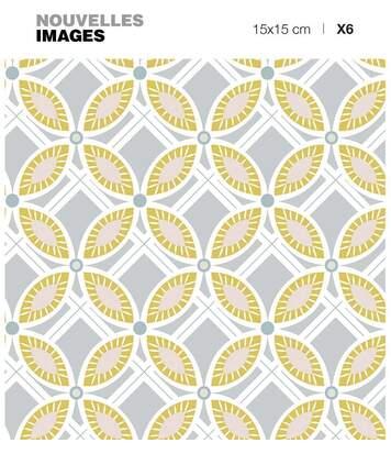 Stickers fleurs ocres et grises ( Lot de 6)