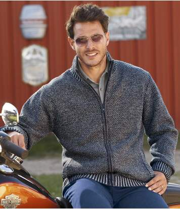 Men's Blue Knitted Full Zip Jacket