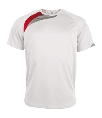 Kariban Proact Mens Short Sleeve Crew Neck Sports T-Shirt (White/ Royal/ Storm Grey) - UTRW4243