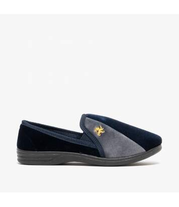 Zedzzz Mens Aaron Twin Gusset Velour Slippers (Navy Blue/Grey) - UTDF840