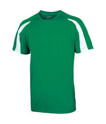 Just Cool Mens Contrast Cool Sports Plain T-Shirt (Sapphire Blue/ Charcoal) - UTRW685