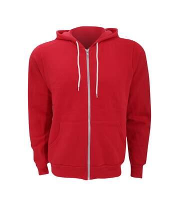 Canvas Unixex Zip-up Polycotton Fleece Hooded Sweatshirt / Hoodie (Red) - UTBC1337
