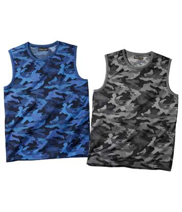 2er-Pack Ärmellose T-Shirts Camouflage