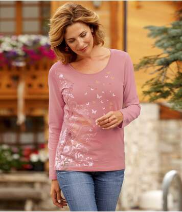 Women's Pink Long Sleeve Top with Floral Pattern