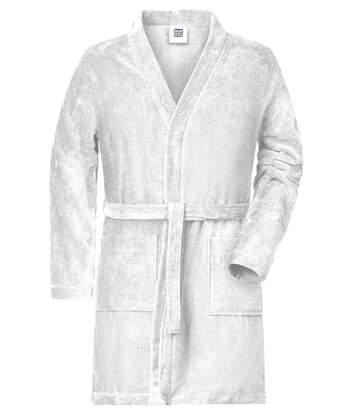 Peignoir court en coton bio peigné pour homme - MB448 - blanc
