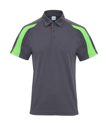 AWDis Just Cool Mens Short Sleeve Contrast Panel Polo Shirt (Charcoal/Lime Green) - UTRW3479